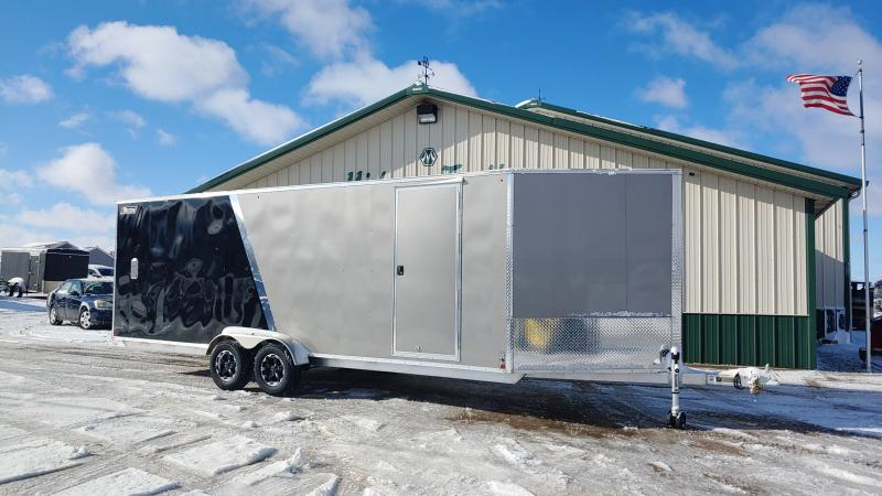 2020 Triton 7'x22'+5 Alum 7k Pewter/black Snowmobile Enclosed Trailer