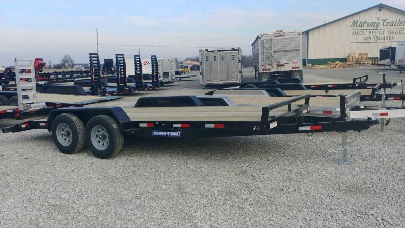 2021 Sure-trac 7'x18' Wood Deck Ch 10k Car Hauler Trailer