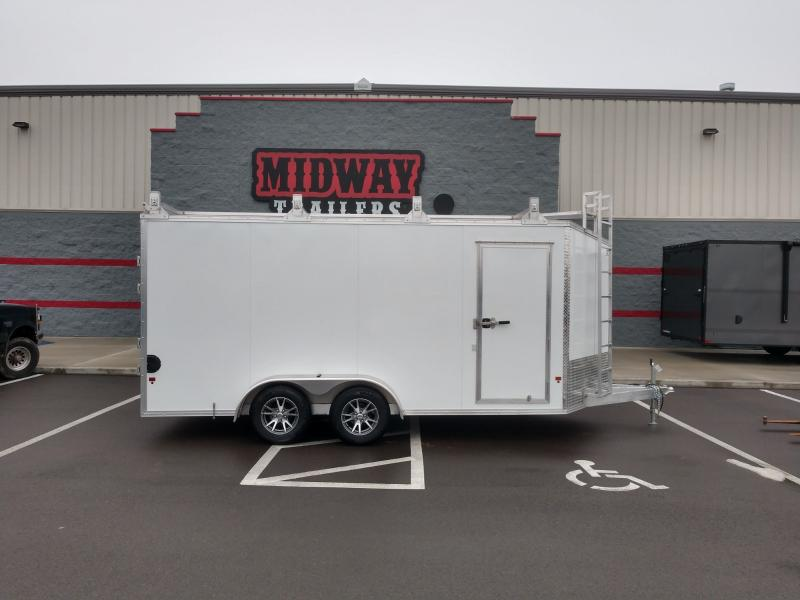 2019 Ez Hauler 7'x16' Alum Contractor 7k White Enclosed Trailer