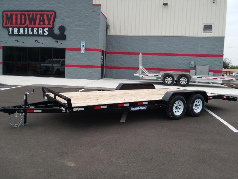 2021 Sure-trac 7'x20' Wood Deck 7k Car Hauler Trailer