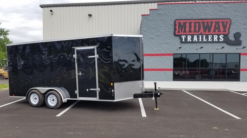 2021 Interstate 7'x16' 7k Black Barn Doors Enclosed Trailer