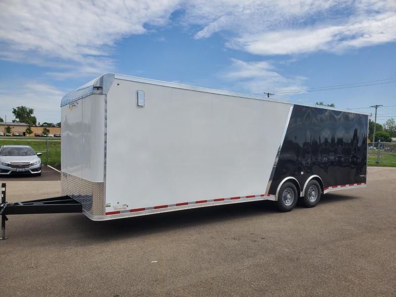 2020 Stealth 8.5'x28' Bull Nose Viper 12k White/black Enclosed Trailer