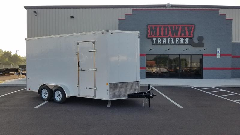 "2021 Interstate 7'x16'+12"" Hgt 7k White Enclosed Trailer"