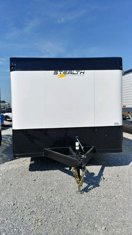 2020 Stealth 8.5x28 Bullnose Titan 12k White/black Bo Enclosed Trailer