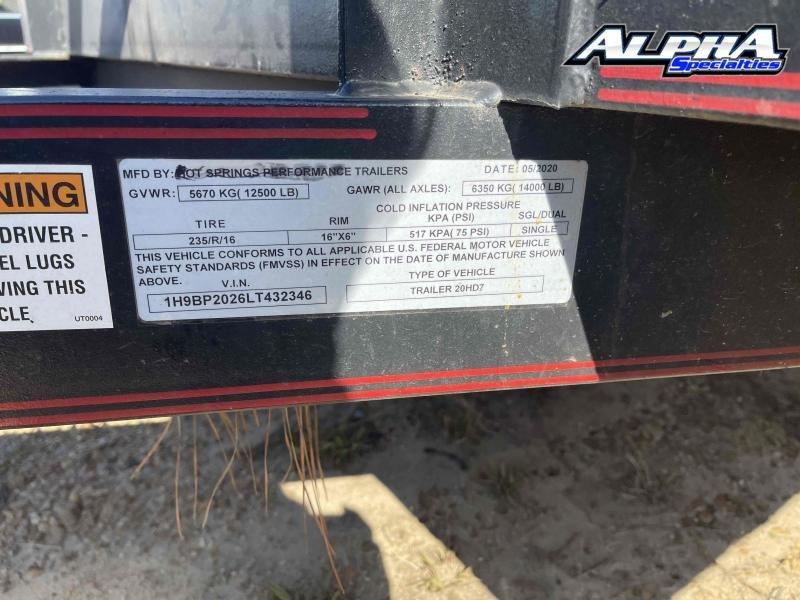 "Used 2020 Custom Built 83"" x 20' Tandem Axle Car / Equipment Hauler Trailer 14K GVWR"