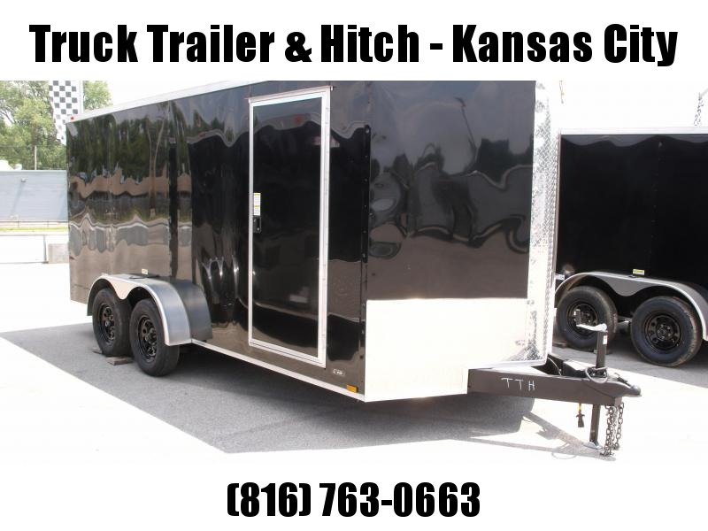 "Enclosed Trailer  7 x 16  Ramp 6' 4"" Interior Black  In Color Ramp Door  7000 GVWR"
