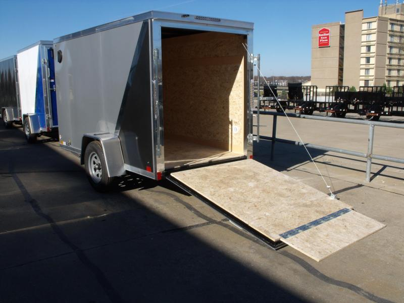 """Enclosed Trailer 5 x 10 Ramp 5' 6"""" Interior Two Tone  Silver Mist Frt/ Charcoal Rear"""