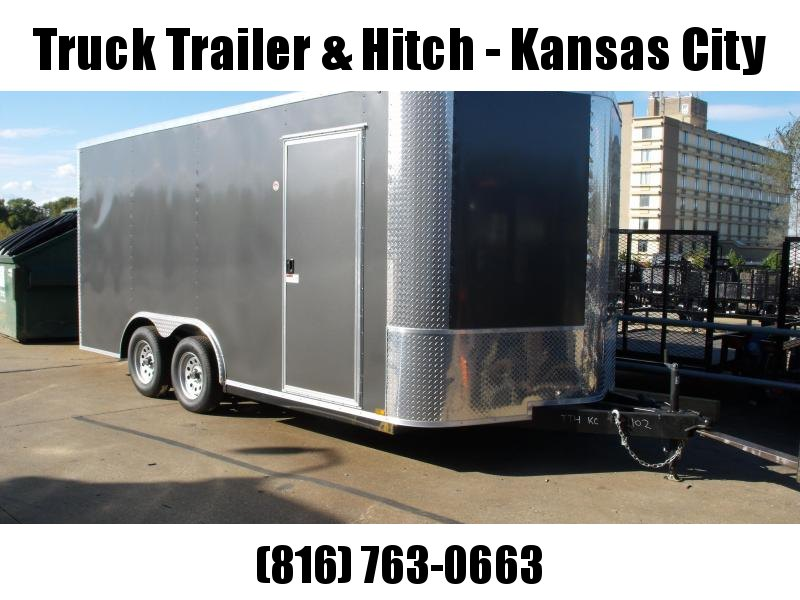 Enclosed Trailer 8.5 X 16 RAMP DOOR  Charcoal  In Color 7000  GVW 7'  Height  ALL Tubular Construction