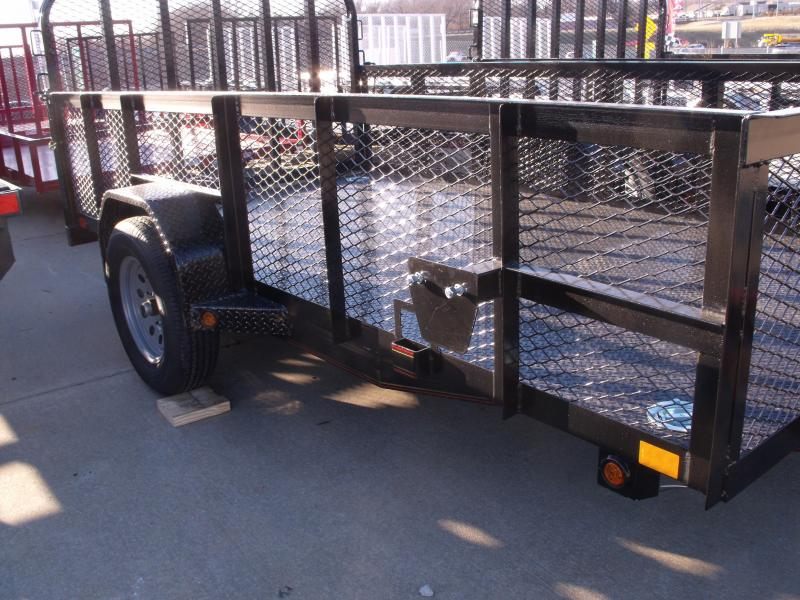 High-Wall Landscape Trailer 77 X 12 Metal Deck Spring Assisted Gate  Black  In Color