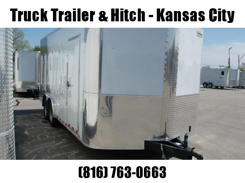 Enclosed Trailer 8.5 X 18 Dove Tail With HD Ramp   7'  Interior 9990 GVW ALL TUBE Construction Two Tone IN Color  Front/White Rear Silver Mist   4 Wheel Brakes  9990  GVW