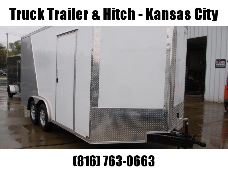 Enclosed Trailer 8.5 X 16  Ramp 7' Interior Two Tone In Color White Front/ Silver Mist Rear In Color Ramp Door  9990  GVWR
