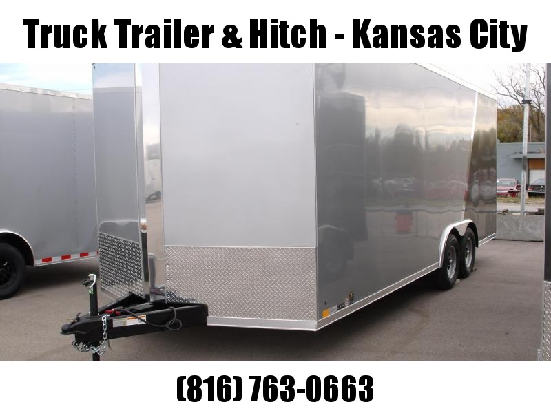 Enclosed Trailer  8.5 X 20 Dove Ramp 7' Interior 9990 GVWR Two Tone Silver Frt/Charcoal Rear
