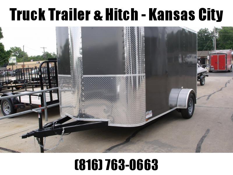 """Enclosed Trailer 7 X 12 RAMP  DOOR 2990 GVW   6' 6""""   Height  Charcoal   In Color"""