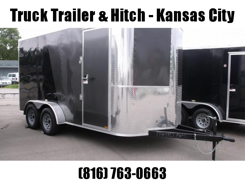 Enclosed Trailer Soft Nose  7 X 14 Ramp 7' Interior Height   Two/Tone In Color Charcoal Front/ Black Rear  ALL Tube Construction