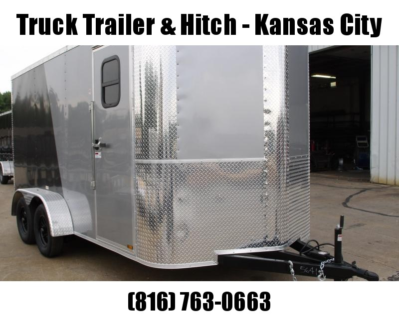 Enclosed Trailer 7 X 14  Ramp Two Tone In Color Silver Mist Front/Medium Charcoal  7000 GVW 7' Interior Height