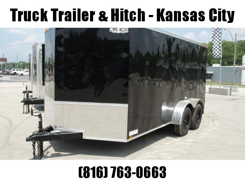 "Enclosed Trailer  7 x 14  Ramp 6' 1"" Interior Black  In Color Ramp Door  7000 GVWR Sharp V Nose"