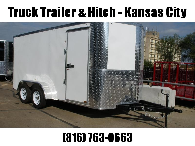 """Enclosed Trailer 7 X 14 BARN DOORS  Extended Tongue Double Hinges White In Color  6' 6"""" Interior All Tube Construction"""
