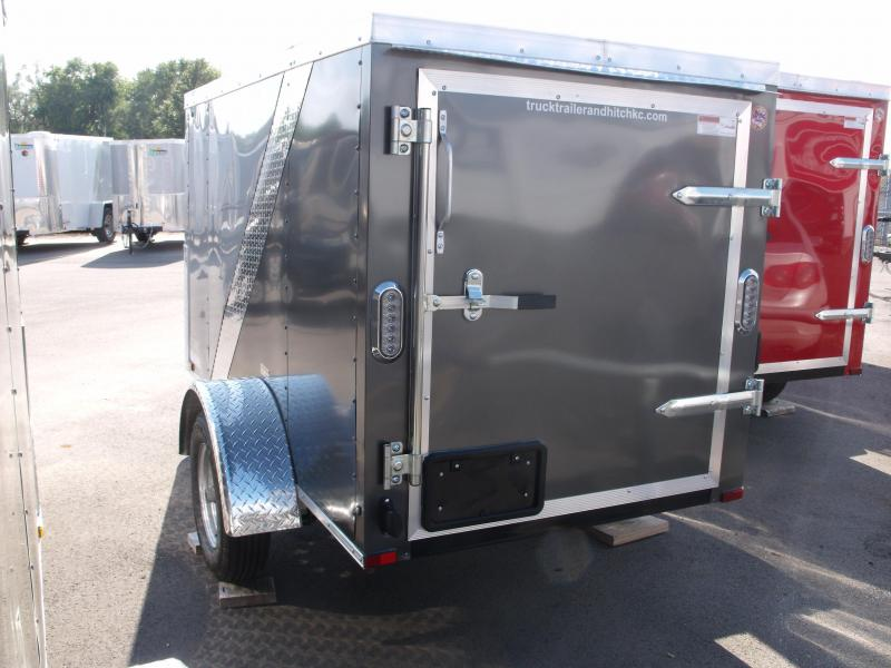 Enclosed Trailer For The Smaller Vehicles  4 X 8 Barn Door  Two Tone Silver/Charcoal
