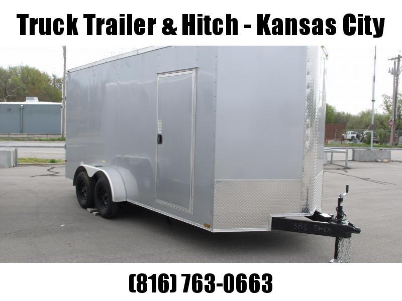 Enclosed Trailer  7 x 16  Ramp 7' Interior Silver In Color Ramp Door  7000 GVWR