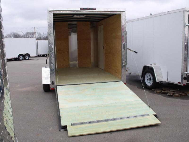 """Enclosed Trailer 7 X 10 Ramp 6' 6"""" Height    All Tube Construction Two Tone White Front/Silver Mist Rear  In Color"""