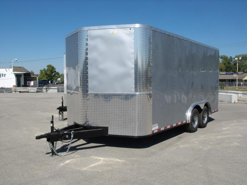 Enclosed Trailer 8.5 X 16 Ramp Dove Tail With   7 ' Interior 9990 GVW ALL TUBE Construction  Silver Mist In Color 4 Wheel Brakes