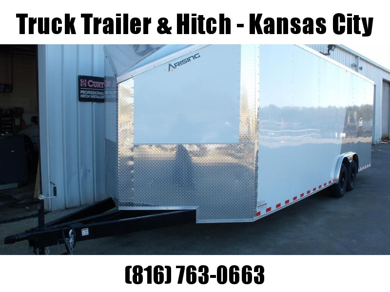 Enclosed Trailer Razor Trailer   8.5 X 24 Wedge Nose Dove Tail 7' Tall Dove Tail Color Frt White/ Rear Silver Mist   9990 GVW  Dove Tail