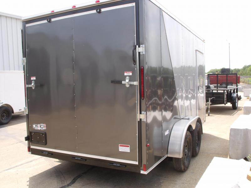 Enclosed Trailer  7 x 14  Ramp 7' Interior Two Tone  SILVER MIST Frt/ Charcoal Rear   In Color    Ramp Door  7000 GVWR