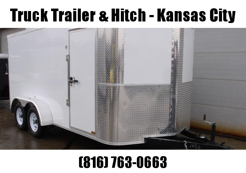 """Enclosed Trailer 7 X 14  Ramp White  In Color 7000 GVW 6' 3"""" Height"""