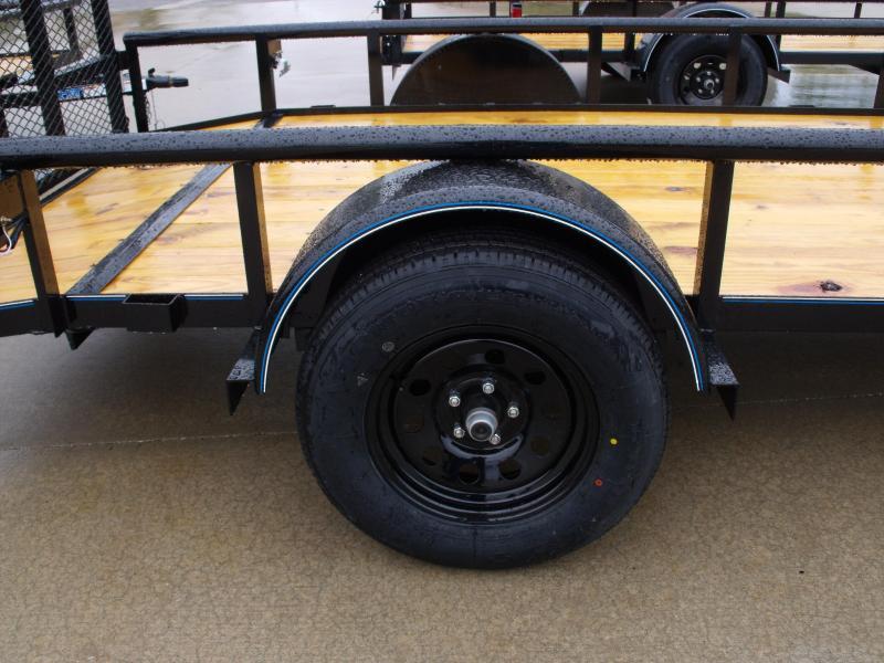 Utility Trailer 77 x 12  Dove Tail  Pipe Rail Top  Rear   Gate 2990 Axle