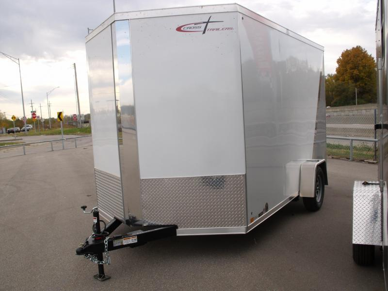 Enclosed Trailer 7 X 12 Ramp Electric Brakes 7' Interior Two Tone  White Frt/ Silver Mist/Rear