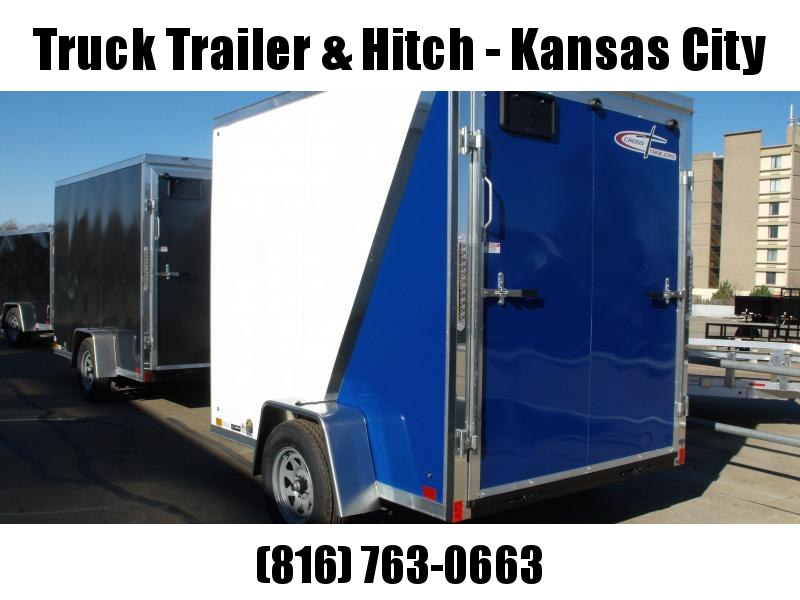 "Enclosed Trailer 6 x 8   Ramp 6' 6"" Interior Two Tone In Color White Front/ Royal Blue Rear"