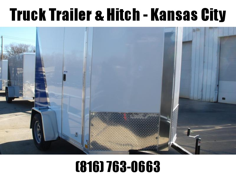 """Enclosed Trailer 6 x 8   Ramp 6' 6"""" Interior Two Tone In Color White Front/ Royal Blue Rear"""