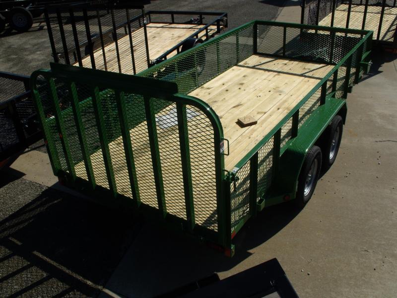 High-Wall  Trailer Landscape Trailer 83 X 16  Ramp   John Deer Green   7000 GVW