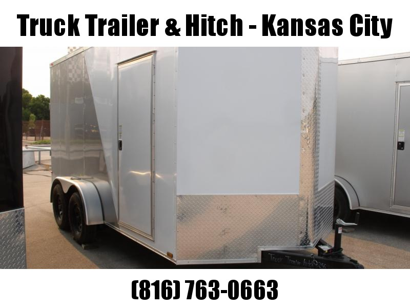 Enclosed Trailer  7 x 14  Ramp 7' Interior Two Tone  SILVER MIST Frt/ White/Rear Silver Mist   In Color    Ramp Door  7000 GVWR