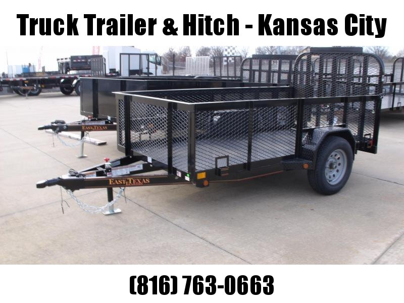 High-Wall Landscape Trailer 5 X 10 Metal Deck Spring Assisted Gate  Black  In Color