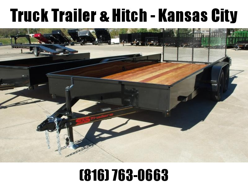 "Utility Trailer 82"" x 16' Smooth Side Gate  7000 GVW 4 Wheel Brakes"