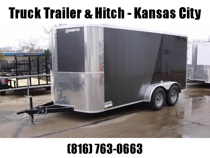"""Enclosed Trailer 7 X 14 BARN DOOR HD Hinges  Charcoal In Color 7000 GVW 6' 3"""" Height"""