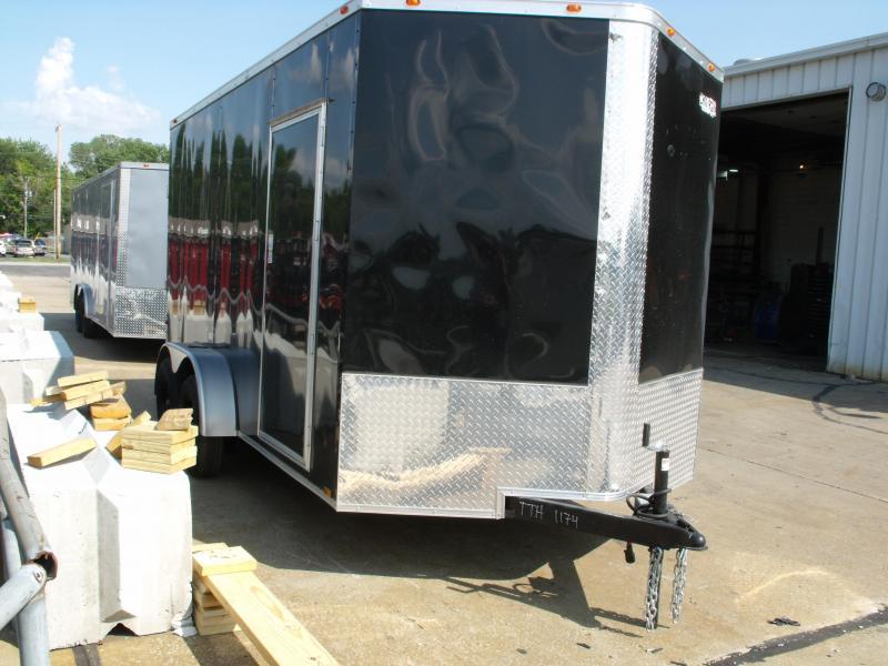 Enclosed Trailer  7 x 14  Ramp 7' Interior BLACK In Color Ramp Door  7000 GVWR