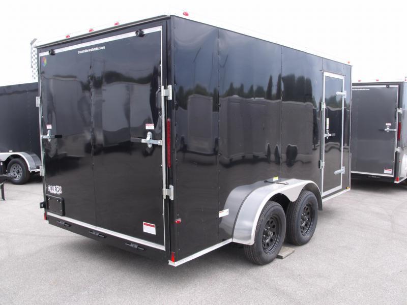 "Enclosed Trailer  7 x 14  Ramp 6' 6"" Interior BLACK In Color Ramp Door  7000 GVWR"