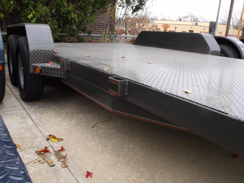 83 X 18 Dove  Metal Deck Car Hauler 7000 GVW 4 WL Brakes Ramps Charcoal Gray   In Color