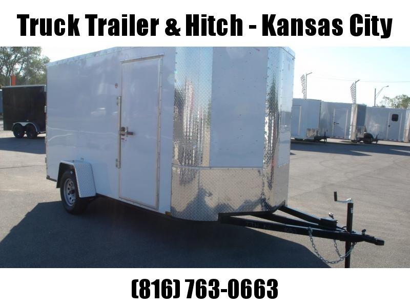 """Enclosed Trailer 6 X 12 BARN DOORS  Extended Tongue Double Hinges White In Color  6' 3"""" Interior All Tube Construction"""