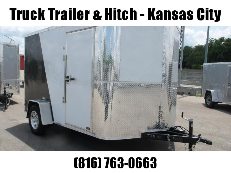 "Enclosed Trailer 7 X 10 Ramp 6' 3"" Height    All Tube Construction Two Tone White Front/Med Charcoal  Rear  In Color"