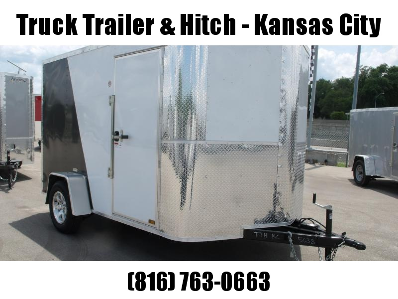 """Enclosed Trailer 7 X 10 Ramp 6' 3"""" Height    All Tube Construction Two Tone White Front/Med Charcoal  Rear  In Color"""
