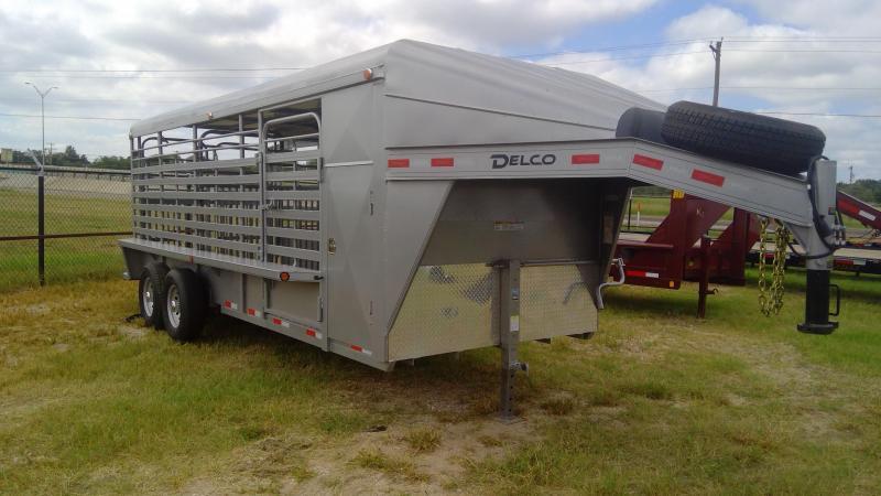 2019 Delco Trailers 20ft Gooseneck Metal Top Horse/Livestock Livestock Trailer