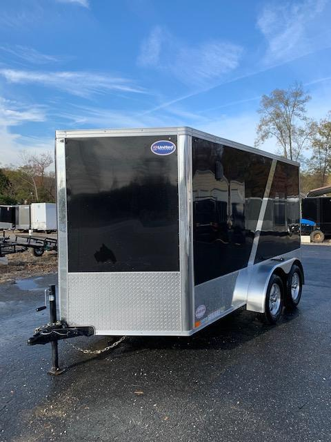 United 7' x 12' XLMTV Black/Black Enclosed Cargo Trailer with Ramp