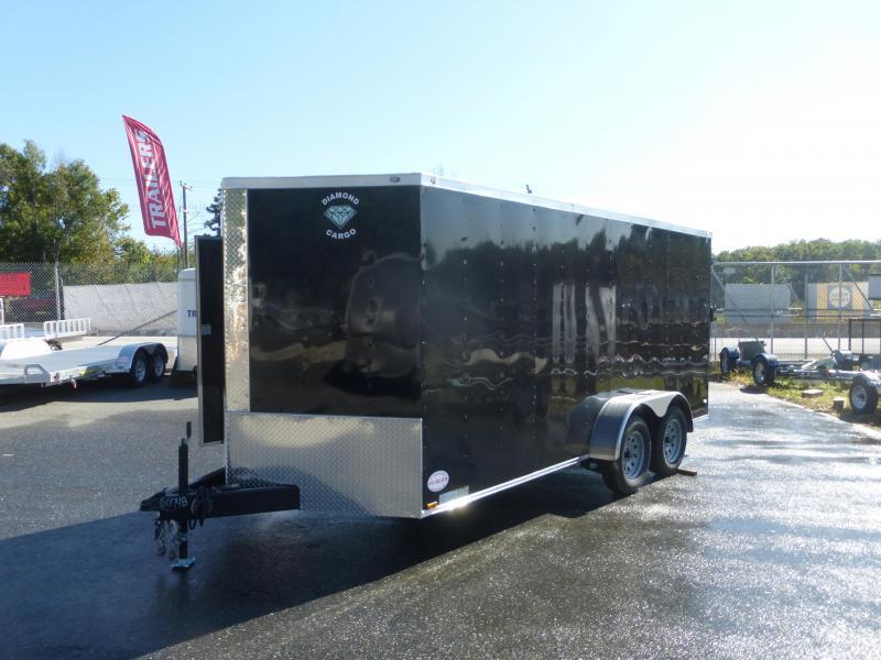Diamond Cargo 7' x 16' Black Tandem Enclosed Trailer w/Ramp