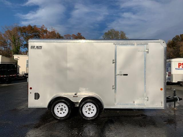 Car Mate 7' x 14' Silver Enclosed Cargo Trailer with Ramp