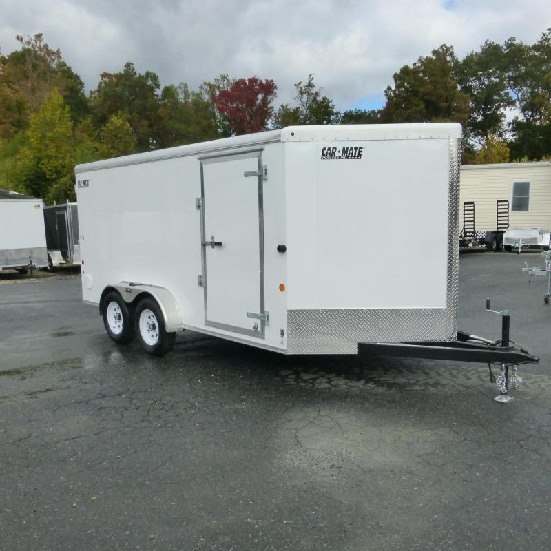 Car Mate 7' x 14' White Enclosed Cargo Trailer with Ramp