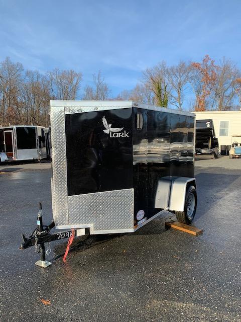 Lark 5' x 10' V-Nose Black Enclosed Trailer w/ Ramp and Side Door