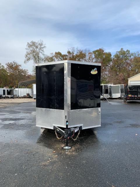 Covered Wagon 7x12 Black Enclosed Cargo Trailer with Ramp & Braking Axle